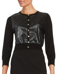 Karl Lagerfeld Faux Leather Floral Cardigan Black