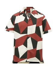 Frescobol Carioca Modernist Geometric Print Cuban Collar Shirt Burgundy Multi