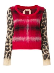 N 21 No21 Checked Leopard Printed Sweater Red