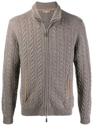 N.Peal Zip Up Chunky Knit Sweater Neutrals