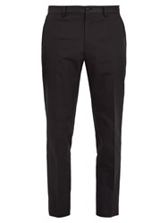 Dolce And Gabbana Slim Leg Cotton Silk Blend Tuxedo Trousers Black