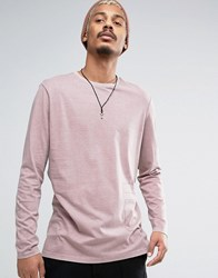 Asos Longline Long Sleeve T Shirt With Applique Detail Pink