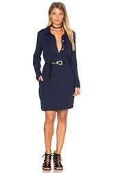 Sundry Pinstripes Henley Shirtdress Navy