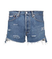 Forte Couture Patch Pocket Denim Shorts Female Blue