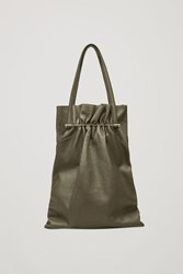 Cos Gathered Leather Tote Bag Green