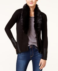 Xoxo Juniors' Faux Fur Trim Cardigan Black