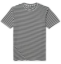 Freemans Sporting Club Striped Cotton And Modal Blend Jersey T Shirt Black
