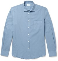 Hartford Slim Fit Cotton Poplin Shirt Blue