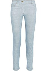 Moschino Printed Mid Rise Skinny Jeans Light Denim