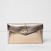 River Island Womens Rose Gold Envelope Clutch
