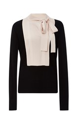 Paule Ka Black Bicolor Bib Tie Neck Blouse
