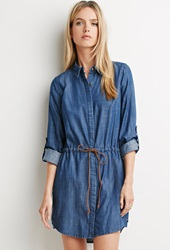 Forever 21 Life In Progress Chambray Shirt Dress Dark Denim