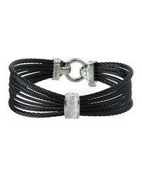 Alor Noir Multi Strand Cable Bracelet W Diamond Pave Black