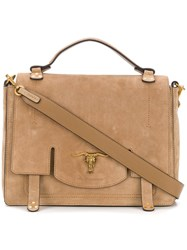 Polo Ralph Lauren Foldover Top Shoulder Bag Nude And Neutrals