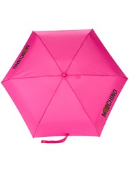 Moschino Logo Print Umbrella Pink And Purple