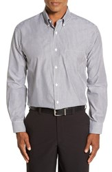 Cutter And Buck Men's 'Epic Easy Care' Regular Fit Mini Bengal Stripe Sport Shirt Charcoal