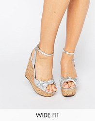 Asos Traffic Jam Wide Fit Wedges Silver