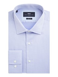 Paul Costelloe Men's Dene Diamond Weave Slim Fit Shirt Blue