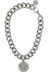 Versace Crystal Embellished Silver Tone Necklace