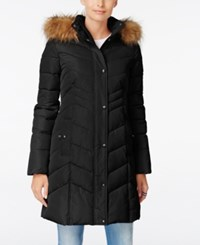Tommy Hilfiger Faux Fur Trim Hooded Quilted Puffer Coat Black