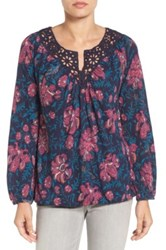 Lucky Brand Katie Floral Peasant Blouse Blue