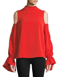 Bishop Young Cold Shoulder Ruffle Trim Blouse Red