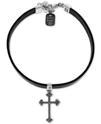 King Baby Studio Cross Leather Choker Necklace In Sterling Silver 12 2 Extender