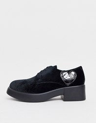Love Moschino Lace Up Chunky Flat Shoes Black