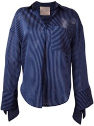 Erika Cavallini Striped Shirt Blue