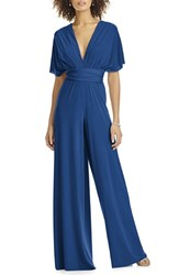 Dessy Collection Plus Size Women's Convertible Wide Leg Jersey Jumpsuit Estate Blue