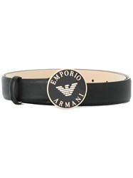 Emporio Armani Enameled Buckle Belt Black