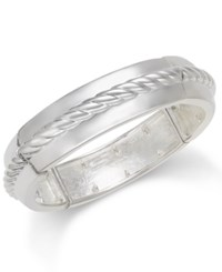 Charter Club Silver Tone Rope Detail Bangle Bracelet Only At Macy's