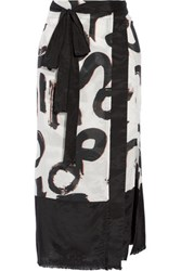 Proenza Schouler Printed Cotton And Silk Blend Pareo Black
