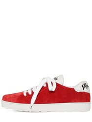 Prada 10Mm One Suede And Leather Logo Sneakers Red
