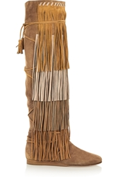 Etro Fringed Suede Knee Boots