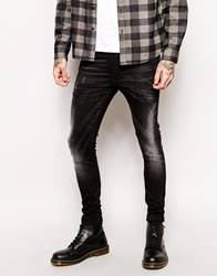 Asos Extreme Super Skinny Jeans With Rips Black