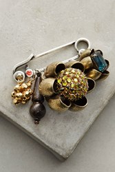 Anthropologie Charmed Flower Pin Gold