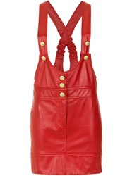 Andrea Bogosian Leather Salopette Red