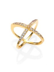 Elizabeth And James Windrose Pave White Topaz Ring Gold