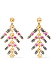 Larkspur And Hawk Caterina Gold Dipped Quartz Earrings One Size