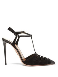 Aquazzura Panthere 105 Suede And Leather Pumps Black