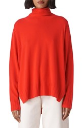 Whistles Funnel Neck Cashmere Sweater Red