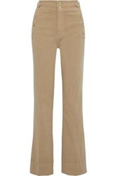 Current Elliott Woman The Maritime Button Detailed Cotton Blend Twill Flared Pants Beige