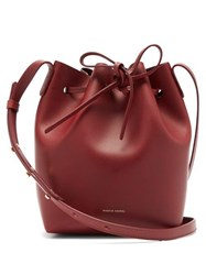 Mansur Gavriel Mini Leather Bucket Bag Burgundy