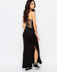 Noisy May Cage Detail Maxi Dress With Side Slit Detail Black