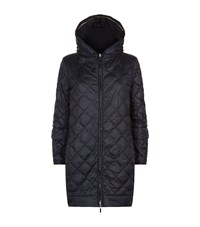 Max Mara Hooded Diamond Quilted Coat Female Black