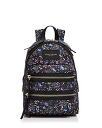 Marc Jacobs Biker Floral Mini Nylon Backpack Purple Multi Silver
