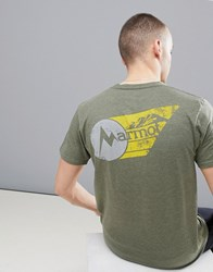 Marmot Marwing T Shirt With Chest Logo In Olive Green Olive Green
