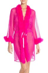 Women's Betsey Johnson Feather Accent Sheer Short Robe Cosmo Pink