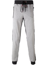 Plein Sport Logo Print Trousers Men Cotton Polyester M Grey